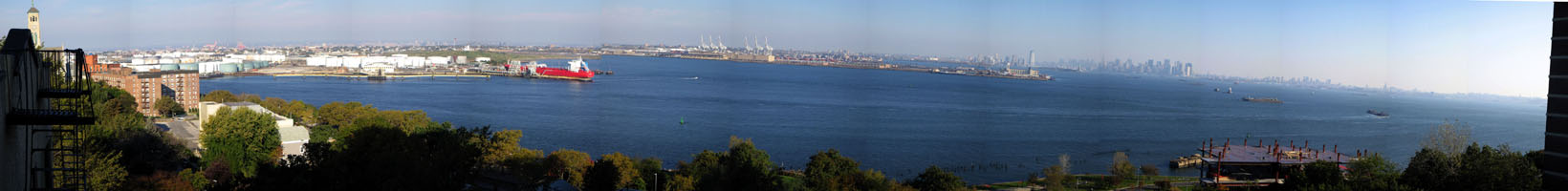Panorama view of New York Harbor from the roof